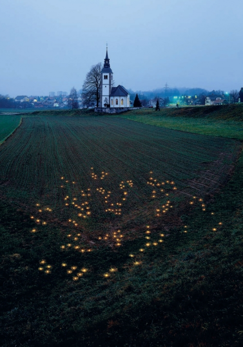 IRWIN, Like to Like / The Constellation of Candles in the Field Corresponds to the Constellation of the Stars in the Sky, 2004. Photo: Tomaž Gregorič, Courtesy Galerija Gregor Podnar