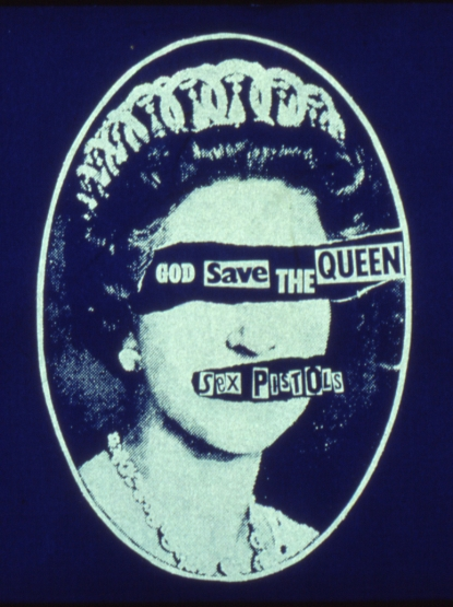 Jamie Reid, God Save the Queen, 1977, Jamie Reid copyright Sex Pistols Residuals, courtesy Isis Gallery, UK